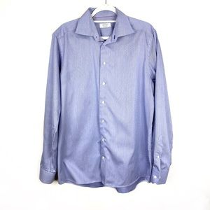 Men's Eton Shirt Button Down Size 16 1/2 Blue